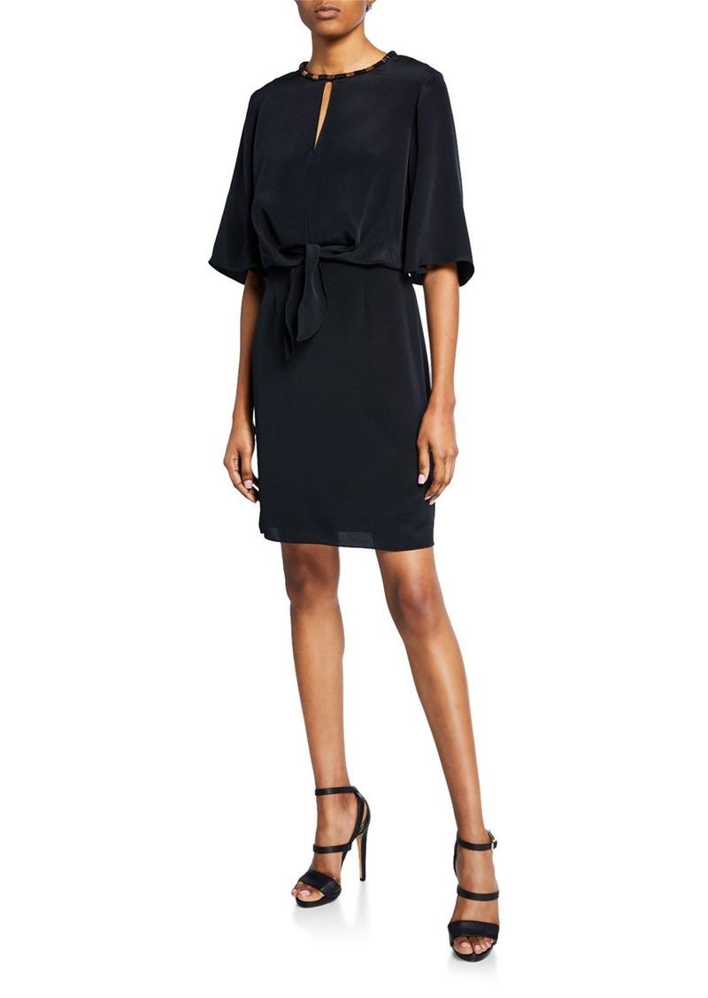 Kobi Halperin Mallory Elbow-Sleeve Silk Dress