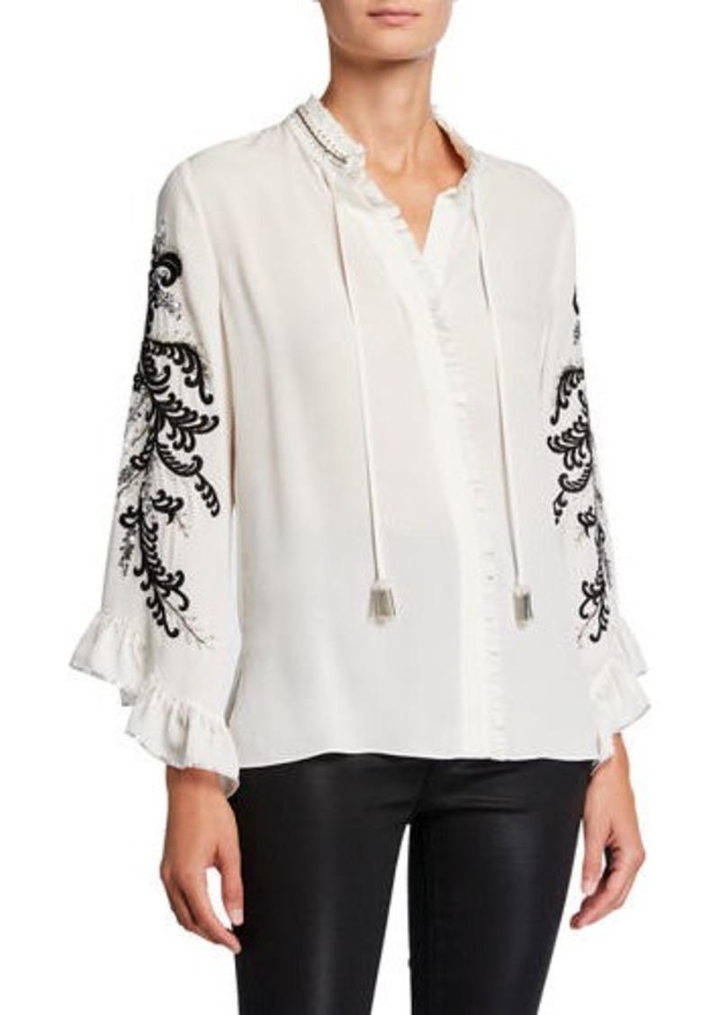 Kobi Halperin Margo Embellished Tie-Neck Long-Sleeve Silk Blouse