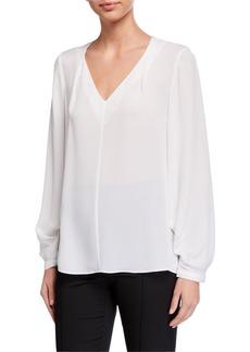 Kobi Halperin Marissa V-Neck Long-Sleeve Silk Blouse