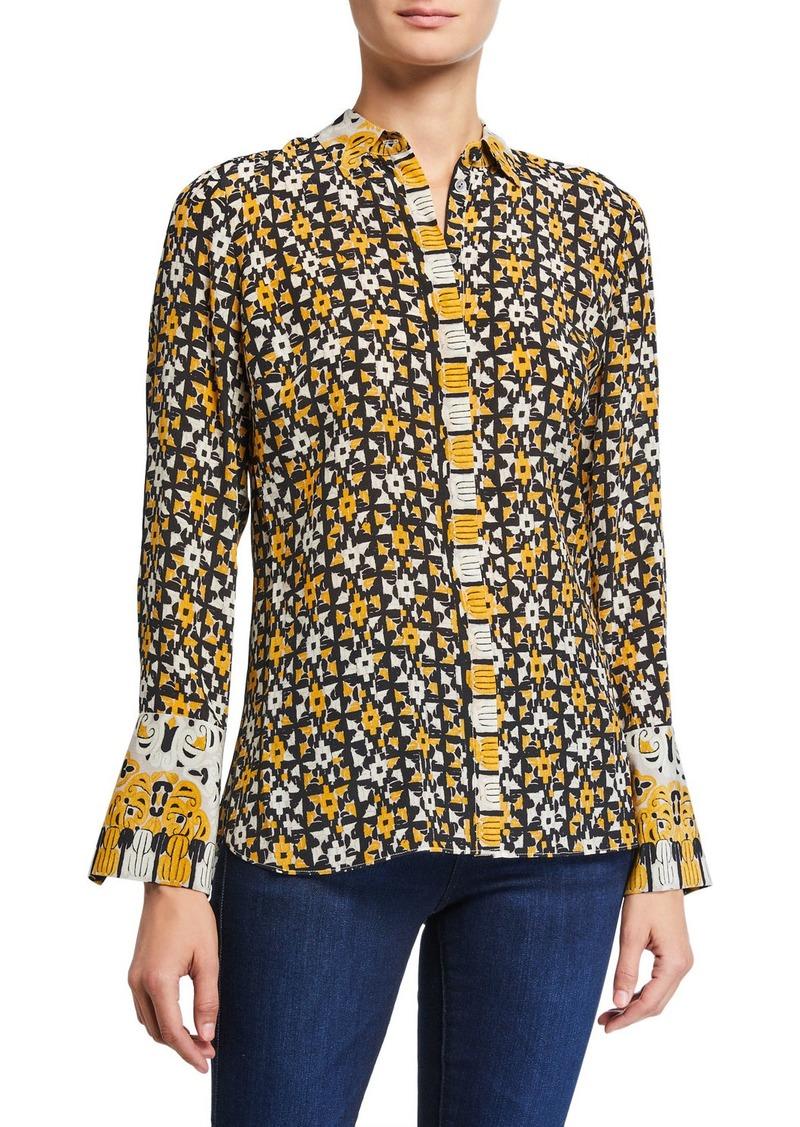 Kobi Halperin Marla Printed Button-Down Silk Blouse