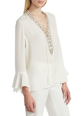 Kobi Halperin Melinda Embellished Fringe Silk Blouse