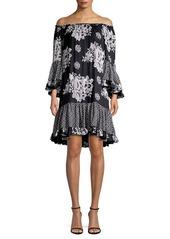 Kobi Halperin Natasia Silk Off-The-Shoulder Flounce Dress