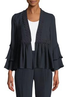 Kobi Halperin Nessa Ruffled Open-Front Silk Jacket