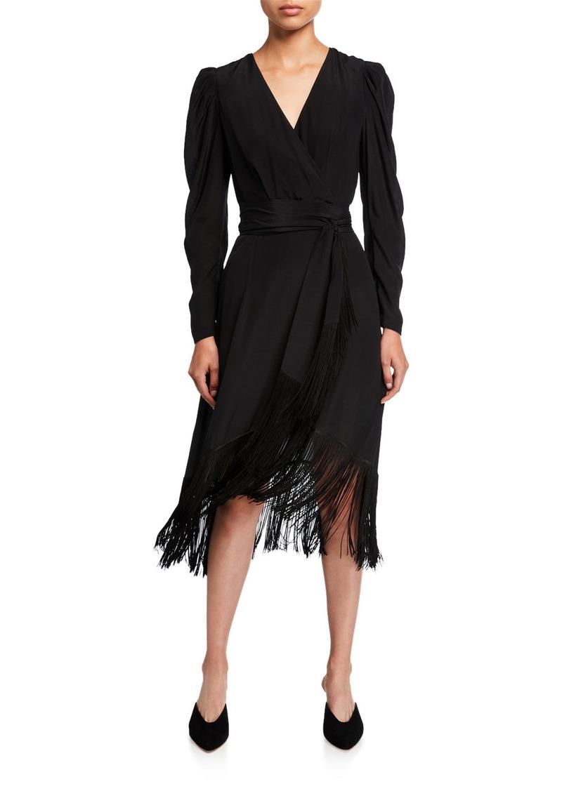 Kobi Halperin Phoebe Long-Sleeve Fringe Midi Dress