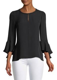 Kobi Halperin Plus Size Shia Bell-Sleeve Silk Blouse