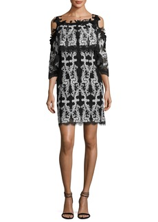 Kobi Halperin Reanna Cold-Shoulder Lace-Trim Popover Dress