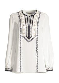 Kobi Halperin Sandi Floral-Embroidered Puff-Sleeve Silk Blouse