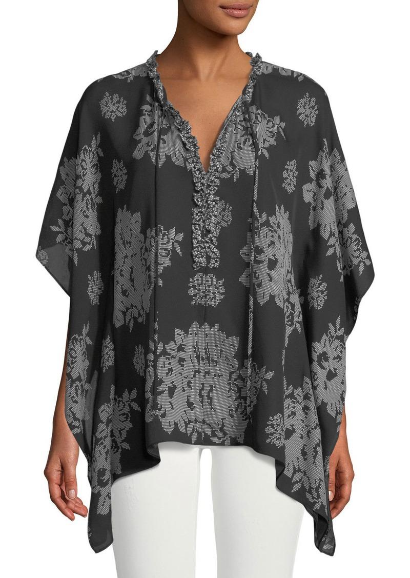 29d0501316e17 On Sale today! Kobi Halperin Shaine Needlepoint-Print Silk Blouse