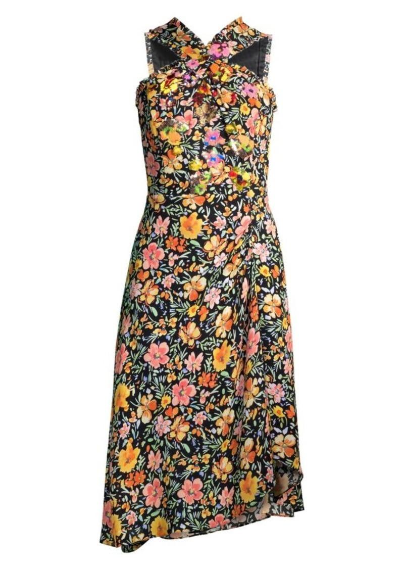 Kobi Halperin Steph Embellished Floral Halter Dress