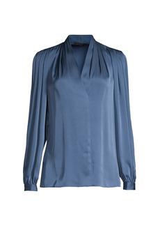 Kobi Halperin Taya Pleated Stretch-Silk Blouse