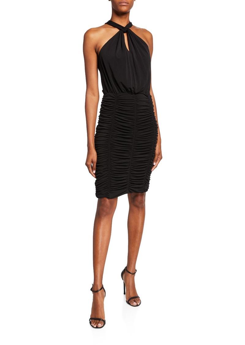 Kobi Halperin Via Keyhole Ruched Skirt Halter Dress