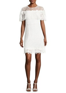 Kobi Halperin Vivi Short-Sleeve Popover Lace Cocktail Dress