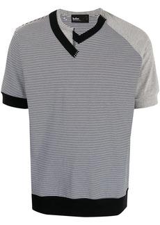 Kolor asymmetric V-neck stripe T-shirt