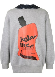 Kolor contrast hood graphic print hoodie