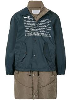 Kolor contrast panel single-breasted coat