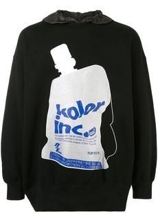 Kolor graphic-print cotton hoodie