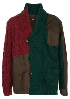 Kolor patchwork cable-knit cardigan