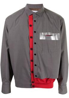 Kolor two-tone layered knit-panel shirt