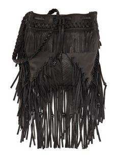 Kooba Janis Fringe Leather Drawstring Bag