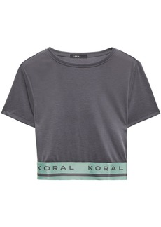 Koral Woman Bianca Cropped Ribbed Modal-blend Top Anthracite