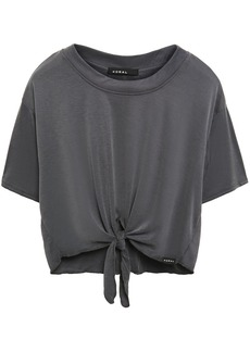 Koral Woman Crystal Marlow Cropped Knotted Ribbed Modal-blend T-shirt Anthracite