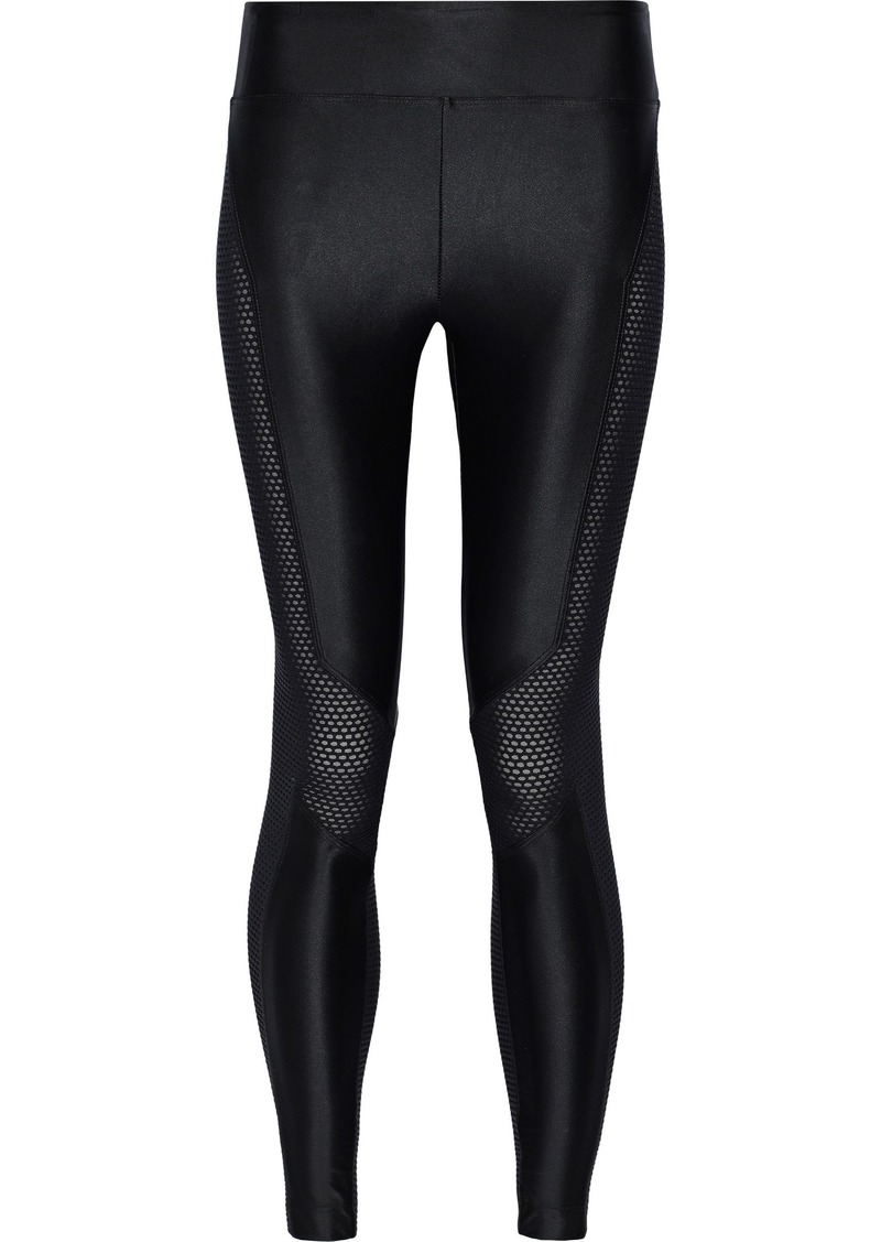 Koral Woman Harlow Mesh-paneled Stretch Satin-jersey Leggings Black