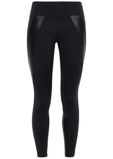 Koral Woman Hull Cropped Satin-paneled Stretch Leggings Black