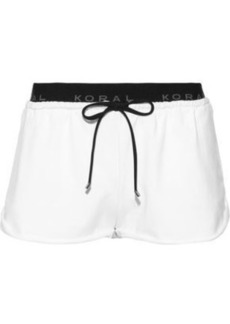 Koral Woman Jacquard-trimmed French Terry Shorts White