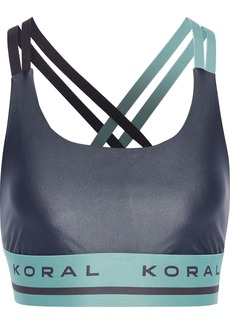 Koral Woman Judge Energy Two-tone Stretch Sports Bra Dark Gray