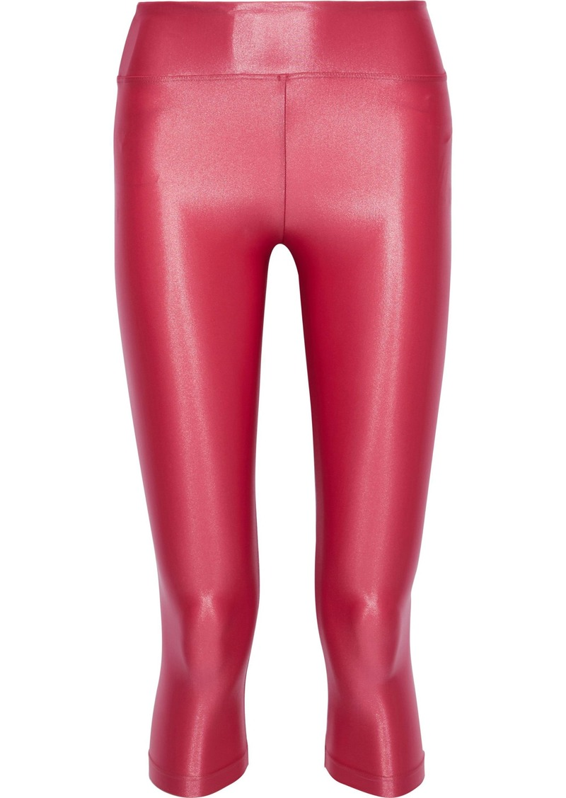 Koral Woman Lustrous Cropped Stretch Leggings Pink