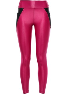 Koral Woman Mesh-paneled Metallic Stretch Leggings Fuchsia