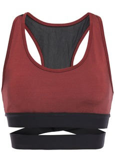 Koral Woman Romance Mesh-paneled Cutout Stretch-satin Sports Bra Brick