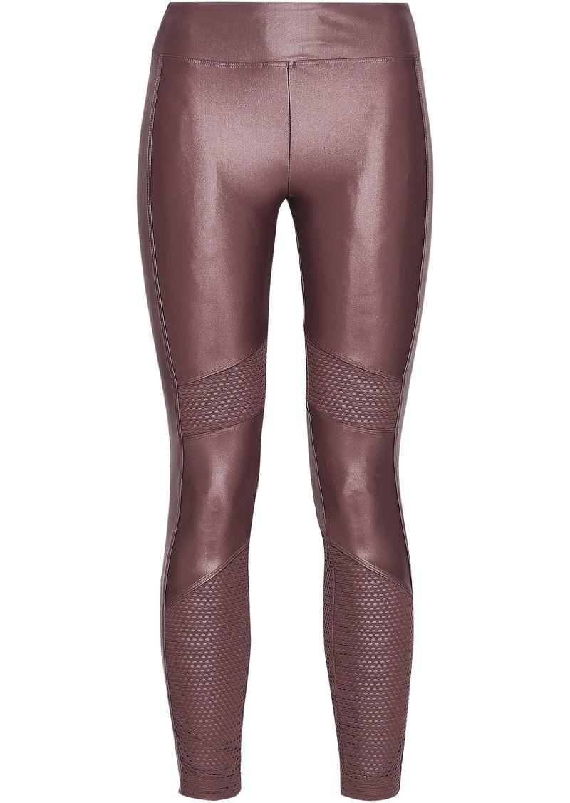 Koral Woman Stilt Mesh-paneled Coated Stretch Leggings Grape