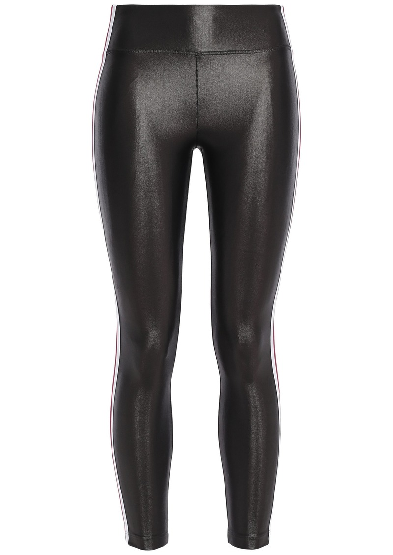 Koral Woman Trainer Striped Coated Stretch Leggings Gunmetal