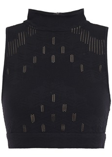 Koral Woman Unami Cropped Pointelle-trimmed Stretch-jacquard Top Black
