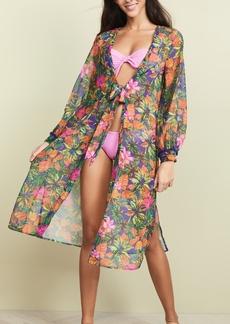 Kos Resort Palm Printed Kimono