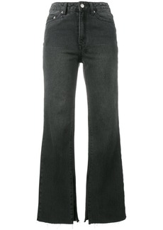 Ksubi Black Kickn Cropped Flared Jeans