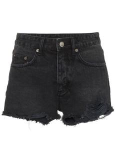 Ksubi black Tongue n Cheek distressed denim shorts