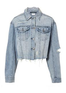 Ksubi Daggerz Distressed Cropped Denim Jacket