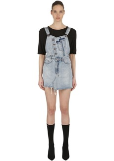 Ksubi Distressed Cotton Denim Overall Dress