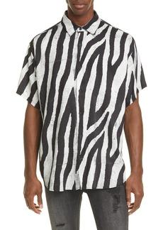 Ksubi Animal Print Short Sleeve Button-Up Shirt