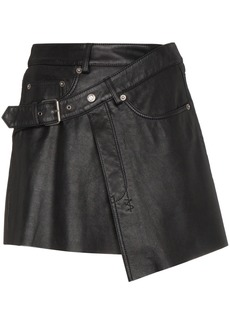 Ksubi Mini Wrap Leather Skirt - Black