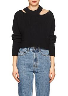 Ksubi Women's Distressed Rib-Knit Cotton Sweater