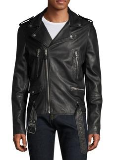 Ksubi Life Machine Loathing Leather Biker Jacket