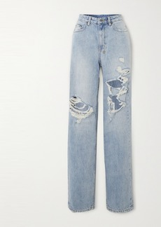Ksubi Playback Kut Up Distressed High-rise Straight-leg Jeans