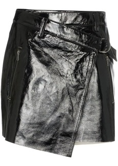 Ksubi wrapover patent leather mini skirt