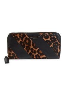 Kurt Geiger K-Stripe Leopard-Print Calf Hair Wallet