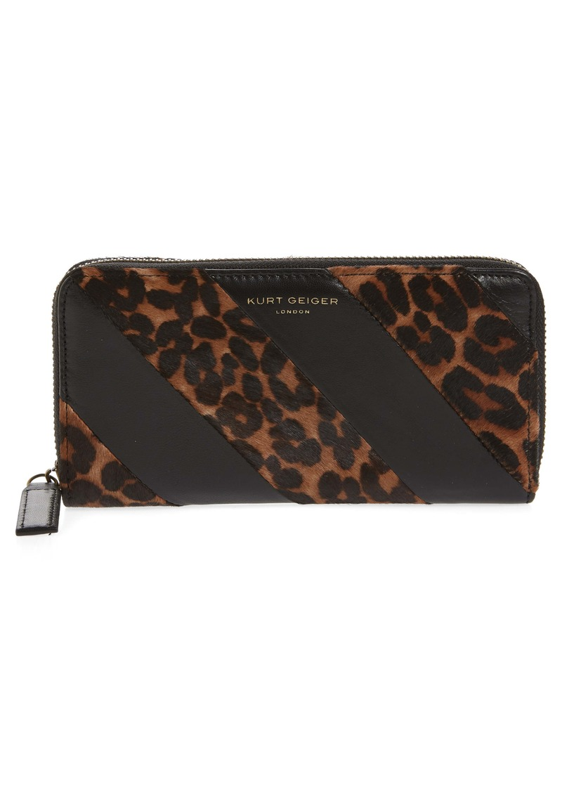 Kurt Geiger London K Stripe Leather & Genuine Calf Hair Zip Around Wallet