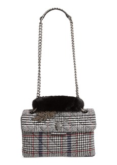 Kurt Geiger London Kensington Plaid Shoulder Bag with Faux Fur