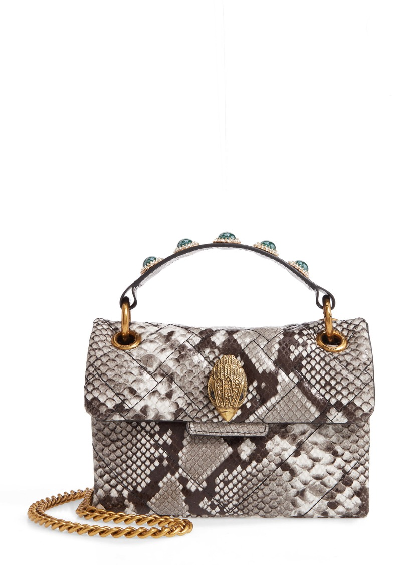 Kurt Geiger London Kensington X Snake Embossed Leather Shoulder Bag